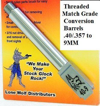 Glock Threaded Conversion Barrels by Lone Wolf Distributors Shoot 9mm in Your .40 S&W Glock 22/31