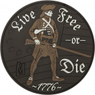 LIVE FREE OR DIE PVC VELCRO PATCH IN ARID