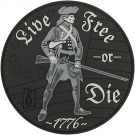 LIVE FREE OR DIE PVC VELCRO PATCH IN SWAT